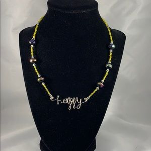 Happy pendant w/ glass accent bead necklace